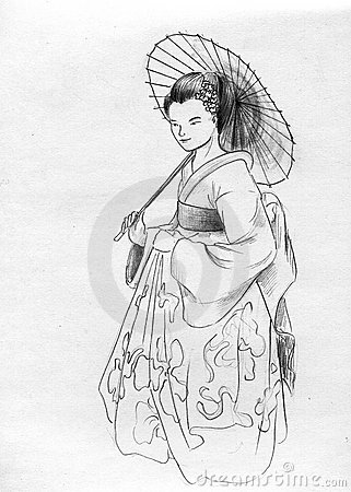Geisha with sunshade parasol