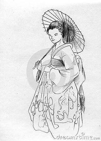 Geisha with sunshade parasol