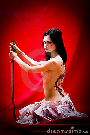 Geisha with sword and tattoo