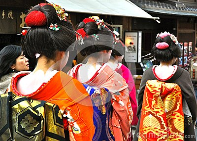Geisha walk in the street Kyoto Editorial Stock Image