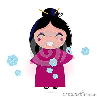Geisha woman in pink kimono