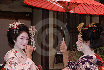 Geishas in Gion, Kyoto Editorial Photography