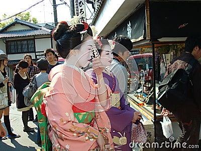 Geishas in Kyoto Editorial Photo