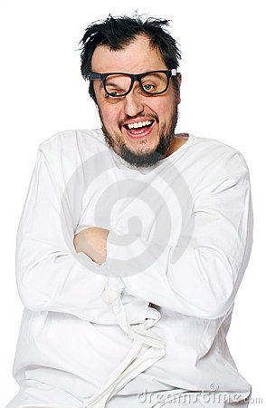 Geisteskranker Mann in der Zwangsjacke getrennt auf Weiß