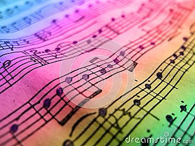 Gekleurd muziekblad