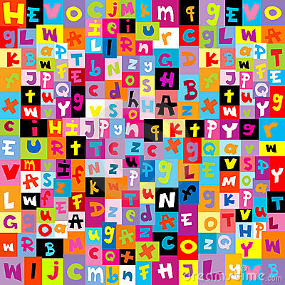 Gekleurd patroon met brieven van alfabet