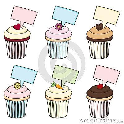 Gekritzel-kleiner Kuchen eingestellt mit Zeichen