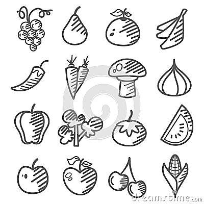 Gekritzel: Obst und Gemüse