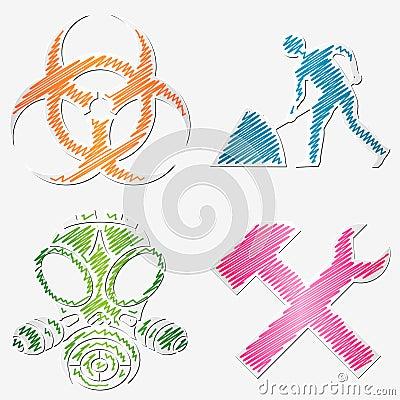 Gekritzelte Symbole