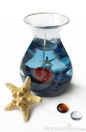 Gel Candle, Starfish and Two Glass Decorations
