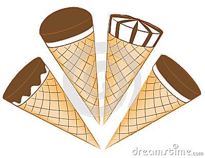 Gelado em cones do waffle