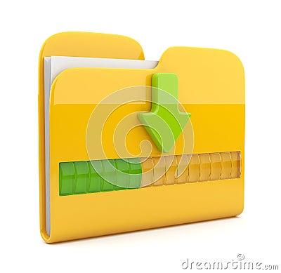 Gelbe Ikone des Faltblatts 3D. Datumdownloading