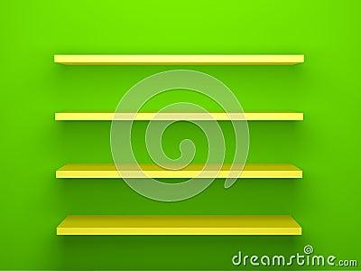 gelbe regale auf gr nem wand hintergrund lizenzfreie stockfotografie bild 30976357. Black Bedroom Furniture Sets. Home Design Ideas