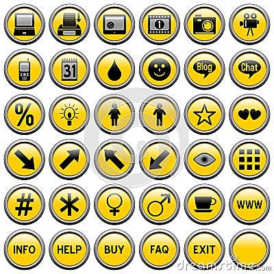 Gelbes rundes Web knöpft [4]