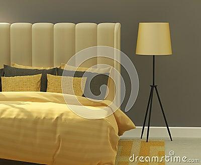 gelbes und graues modernes schlafzimmer stockfotografie - bild, Hause ideen