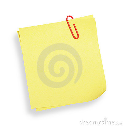 Gele zelfklevende nota (met het knippen van weg)