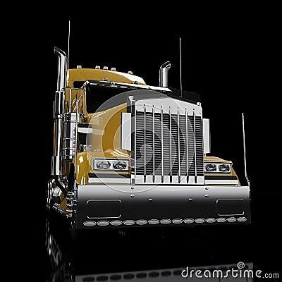 Gele zware vrachtwagen