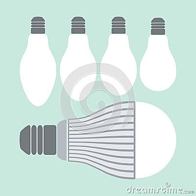 Geleide verlichting en conventionele lampen stock foto for Lampen en verlichting
