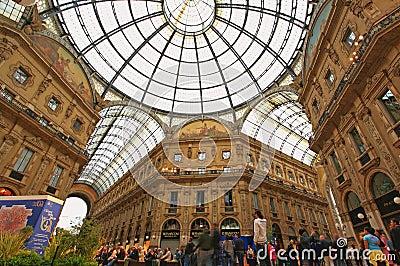 Gelleria Vittorio Emanuele II in Milan Editorial Stock Image