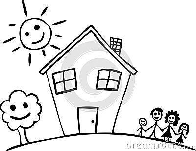 Gelukkig familie en huis stock fotografie beeld 13503252 - Huis van kind buiten ...