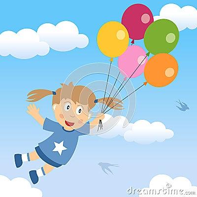Gelukkig Meisje met Ballons