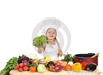 Gelukkig weinig chef-kok met veel groenten