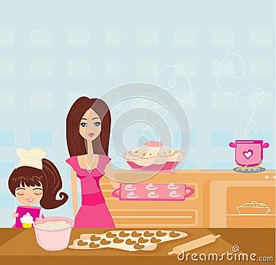 Gelukkige dochter die haar moeder het koken in de keuken bevorderen