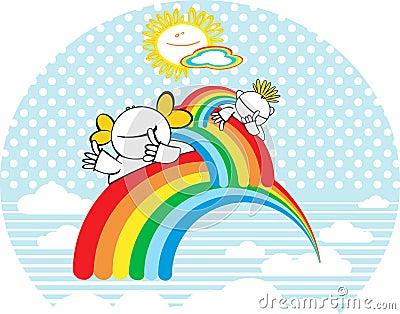 Gelukkige jonge geitjes met regenboog.