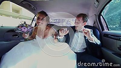 Gelukkige Jonggehuwden die Pret in een Limo hebben stock video