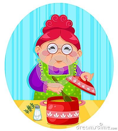 Het koken van oma s