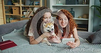 Gelukkige vrienden die selfie met aanbiddelijk puppy nemen die op bank liggen die smartphone gebruiken stock footage