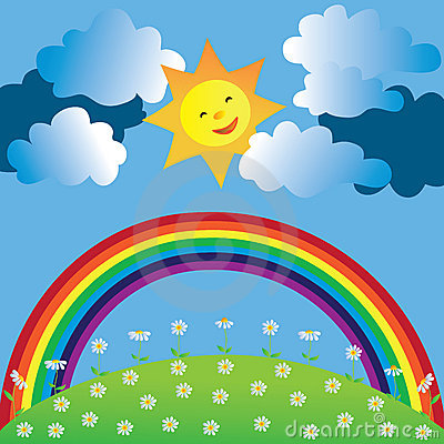 Gelukkige zon en regenboog