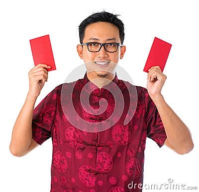 Gelukkige Zuidoostaziatische Chinese mens