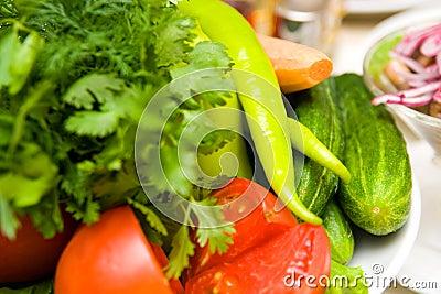 Gemüse auf den Tabellen