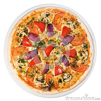 Gemüsepizza von der Spitze