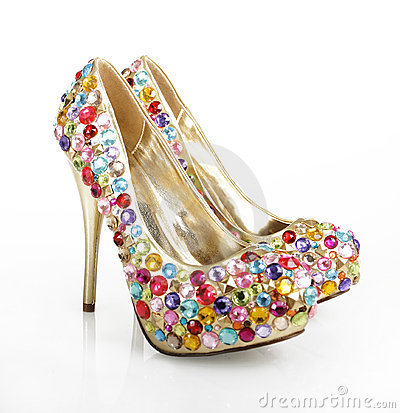 Gem Encrusted Golden Heels
