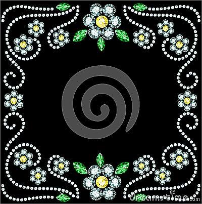 Free Gem Flowers Frame Royalty Free Stock Image - 36739506