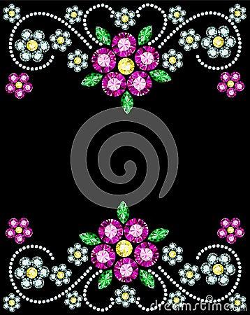Free Gem Flowers Frame Stock Photo - 36745150