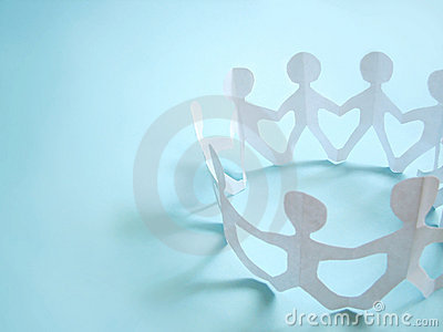 Gemeenschap van mensen die op handen houden