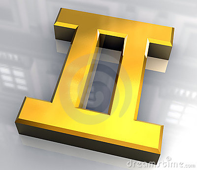 Gemini astrology symbol in gold (3d)