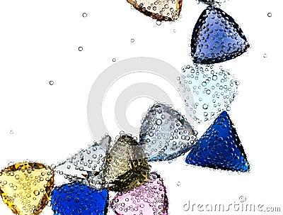 Gems falling in pure water.