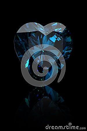 Gemstone shape of heart. Swiss blue topaz