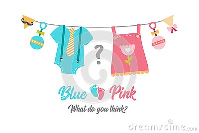 Gender reveal party, baby shower, boy or girl Vector Illustration