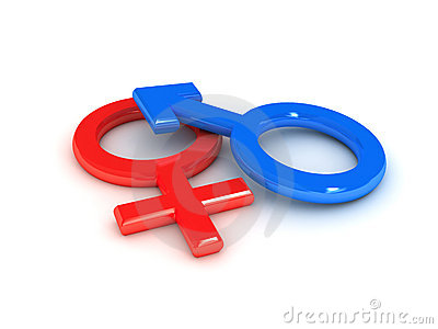 Gender symbol over white background
