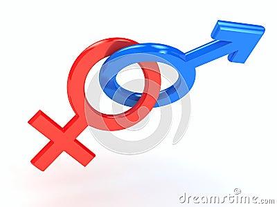 Gender symbol over white background