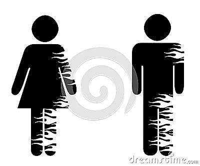 Gender symbols with flames