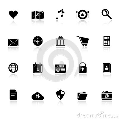 General application icons with reflect on white ba