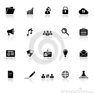 General document icons with reflect on white backg