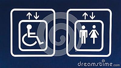 General and Handicap Accessible Elevator Sign, Closeup