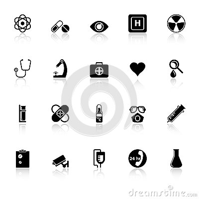 General hospital icons with reflect on white backg